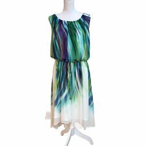 Sandra Darren watercolor Grecian style dress.  EUC